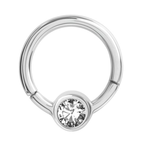 Aufklappbarer Ring mit Strasssteinscheibe 1.2 x 8 x 4mm Crystal