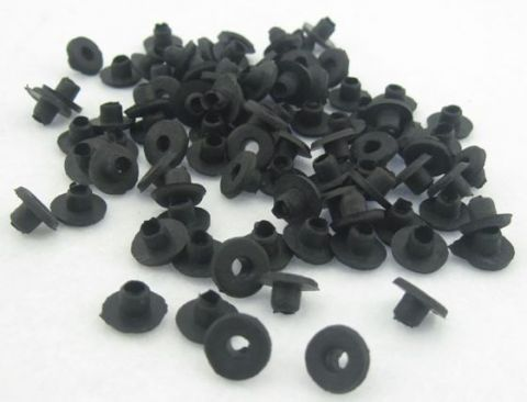 Soft Top Hat Style Grommets Black Pack of 100