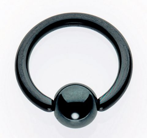Titanium Black Jack Ball Closure Rings - Hematite Bead