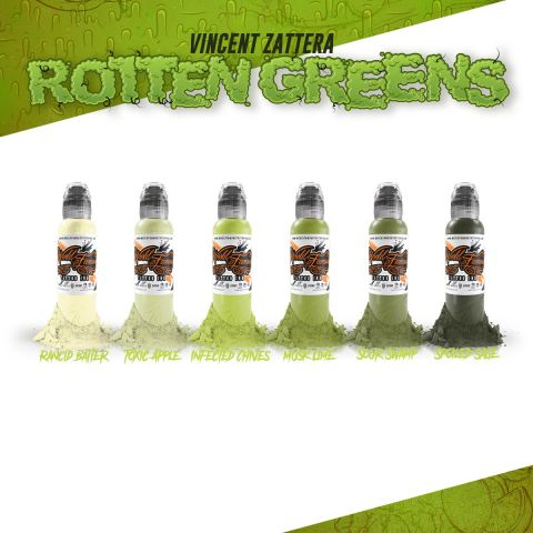 Vincent Zattera Rotten Greens 6 Bottle Set - 1oz/30ml - World Famous Inks