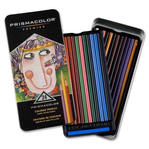 Prismacolor Coloured Pencils - 24 Tin Standard