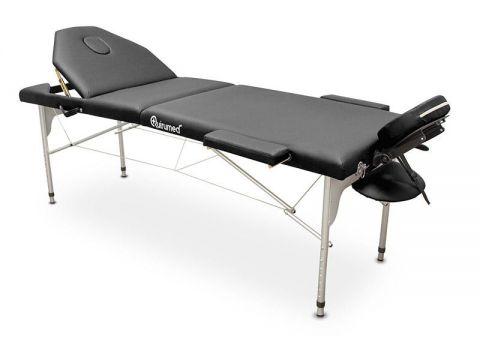Table de massage portable aluminium avec dossier inclinable (194x70cm)-Noire