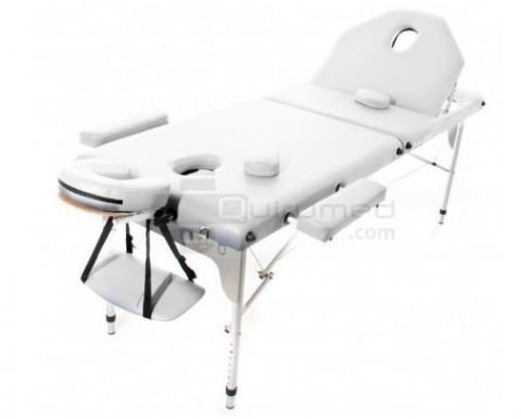 Table de massage portable aluminium avec dossier inclinable (194x70cm)-Blanche