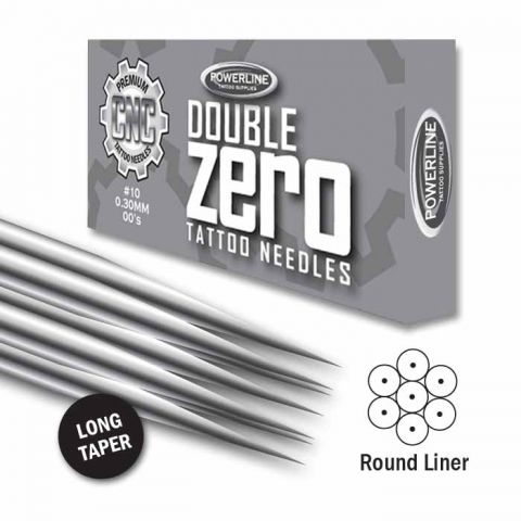 CNC 10 Double Zero Round Liner Needle - Long Taper