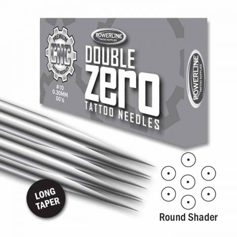 CNC 10 Double Zero Round Shader Needle - Long Taper