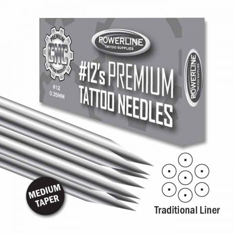 CNC 12 Premium Traditional Liner Needle - Medium Taper