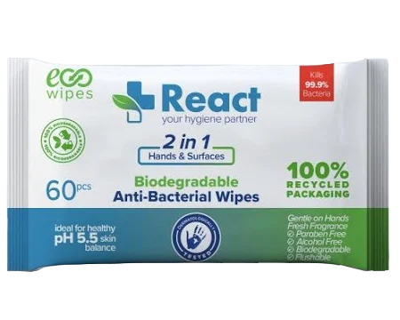 React Anti-Bacterial Wipes (60pcs.)