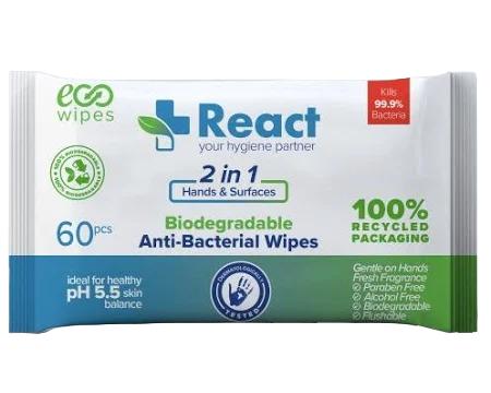 React Anti-Bacterial Wipes (60pcs.)