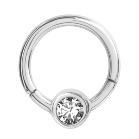 Hinged Ring with Rhinestone Disk 1.2 x 8 x 4mm Crystal