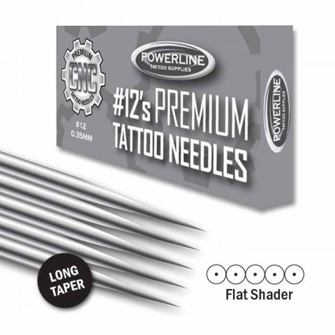 CNC 12 Premium Flat Shader naalden - Long Taper