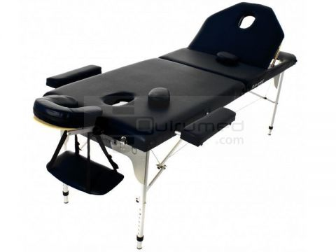 Draagbare aluminium massage tafel incl. inklapbare rugleuning (194x70cm) Black