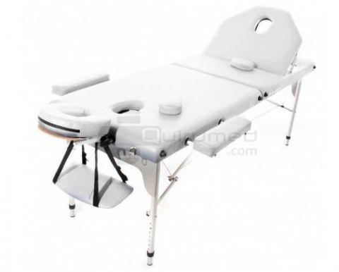 Draagbare aluminium massage tafel incl. inklapbare rugleuning (194x70cm) WHITE