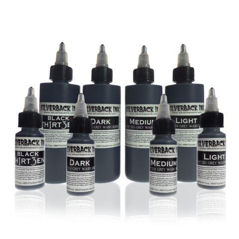 Silverback Ink® Black Th1rt3en Greywash 4 flessen Set (30ml of 120ml)
