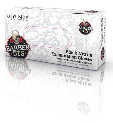 Barber DTS Black Nitrile Powder Free Gloves