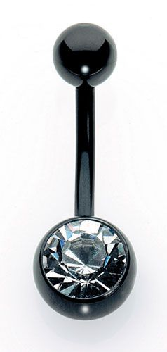 Titanium Black Jack Navel Bars - Single Jewelled