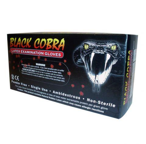 Bezpudrowe rękawice lateksowe Black Cobra - Czarne