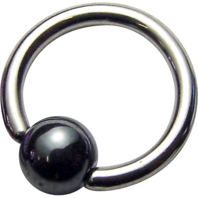 Titanium Ball Closure Rings - Hematite Bead