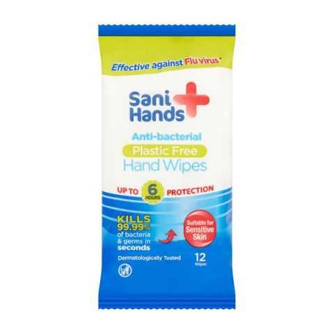 Sani Hands Antibacterial Wipes (10 x packs of 12)
