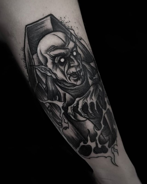 Nosferatu & Lilth Goat Tattoo by Leticia Leopard as part of The Tattoo Shop Halloween Blog.