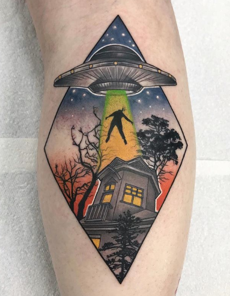 UFO & Witch Tattoo by Stephanie Melbourne as part of Barber DTS Halloween Blog.